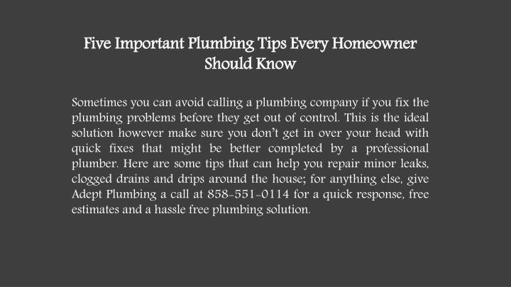 Five Important Plumbing Tips Every Homeowner Should