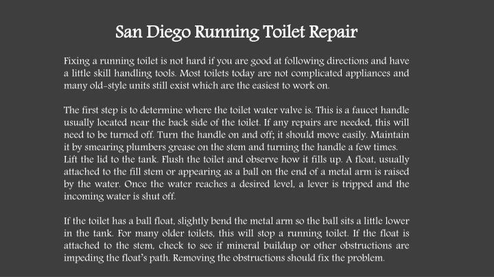 San Diego Running Toilet Repair