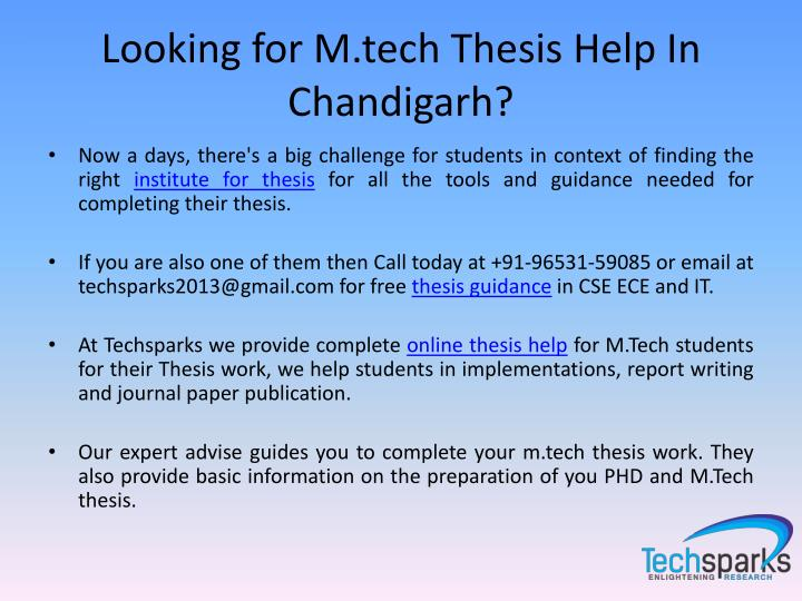 Looking for M.tech Thesis Help In
