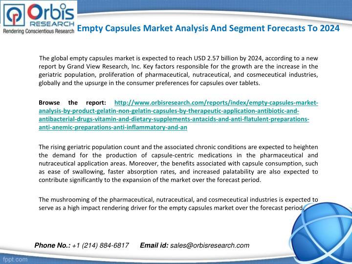 Empty capsules market analysis and segment forecasts to 20241