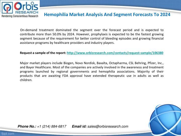 Hemophilia market analysis and segment forecasts to 20242