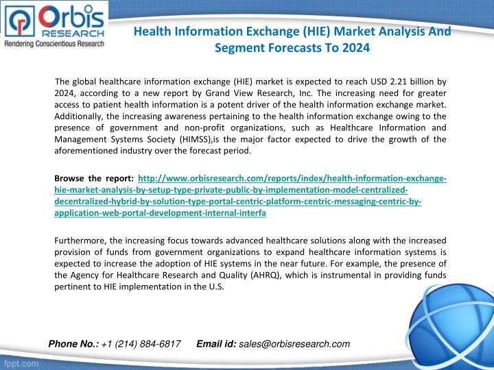 Health information exchange hie market analysis and segment forecasts to 20241