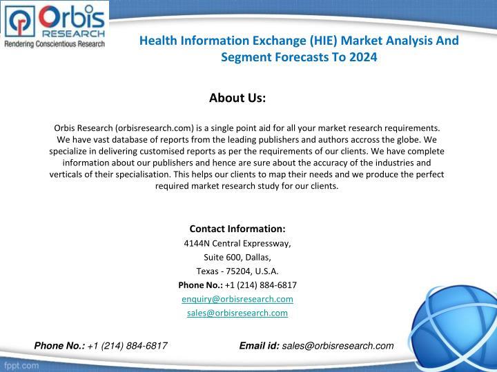 Health Information Exchange (HIE) Market Analysis And Segment Forecasts To 2024