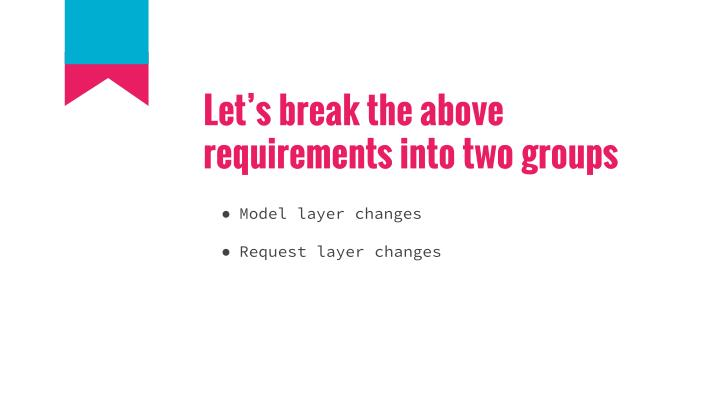 Let's break the above requirements into two groups
