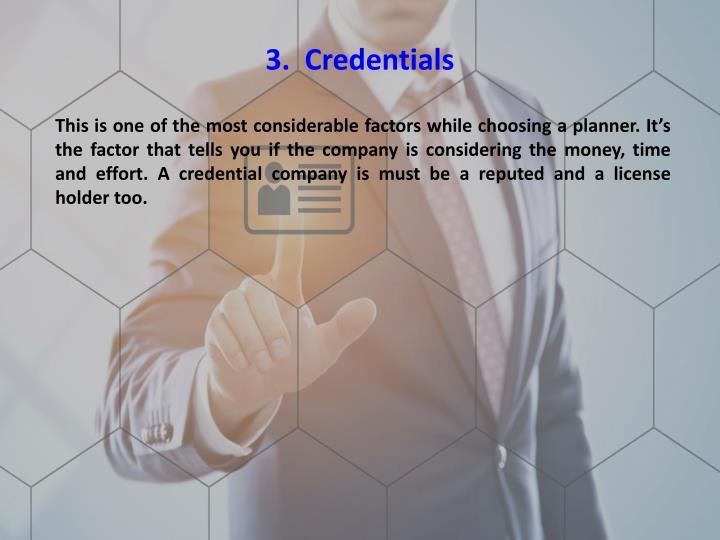 3.  Credentials
