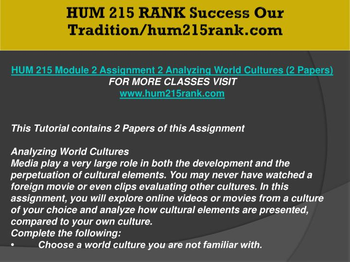 HUM 215 RANK Success Our Tradition/hum215rank.com
