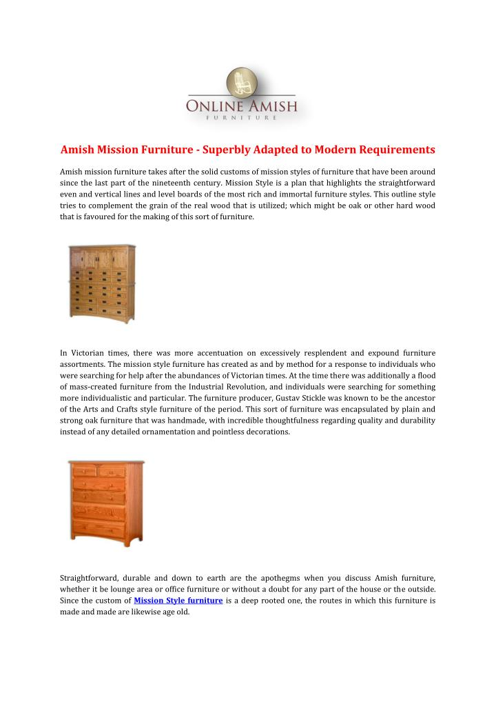 Amish Mission Furniture - Superbly Adapted to Modern Requirements