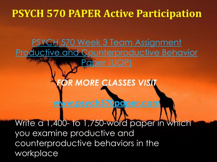 PSYCH 570 PAPER Active Participation