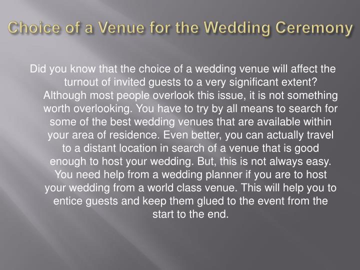 Choice of a Venue for the Wedding Ceremony