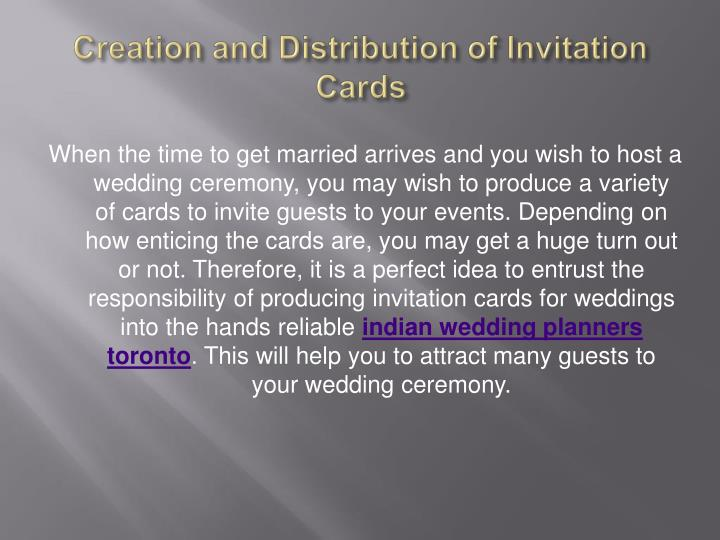 Creation and Distribution of Invitation Cards
