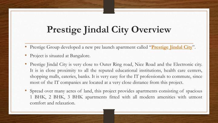 Prestige Jindal City Overview