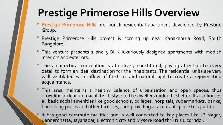 Prestige Primerose Hills Overview