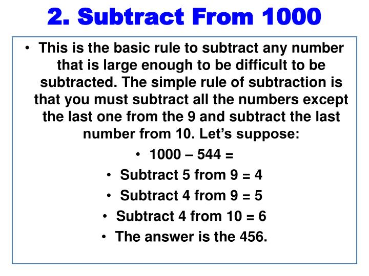 2. Subtract From 1000