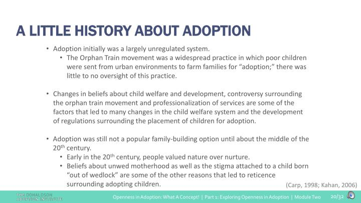 A LITTLE HISTORY ABOUT ADOPTION