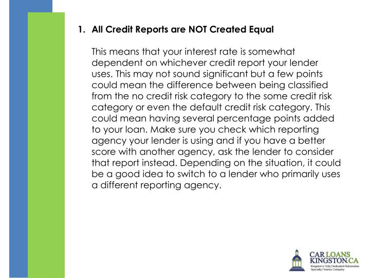 All Credit Reports are NOT Created Equal