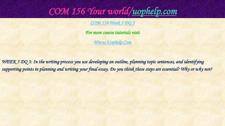 COM 156 Your world/