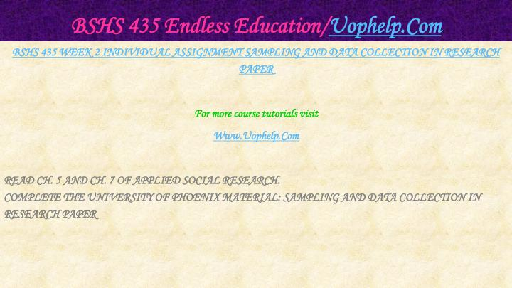 Bshs 435 endless education uophelp com2