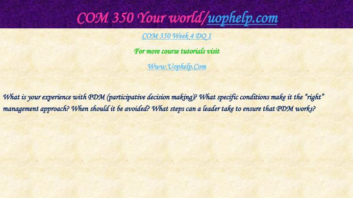COM 350 Your world/