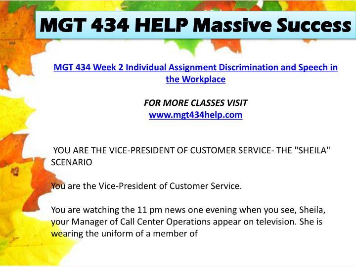 MGT 434 HELP Massive Success
