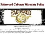 fabuwood cabinets warranty policy
