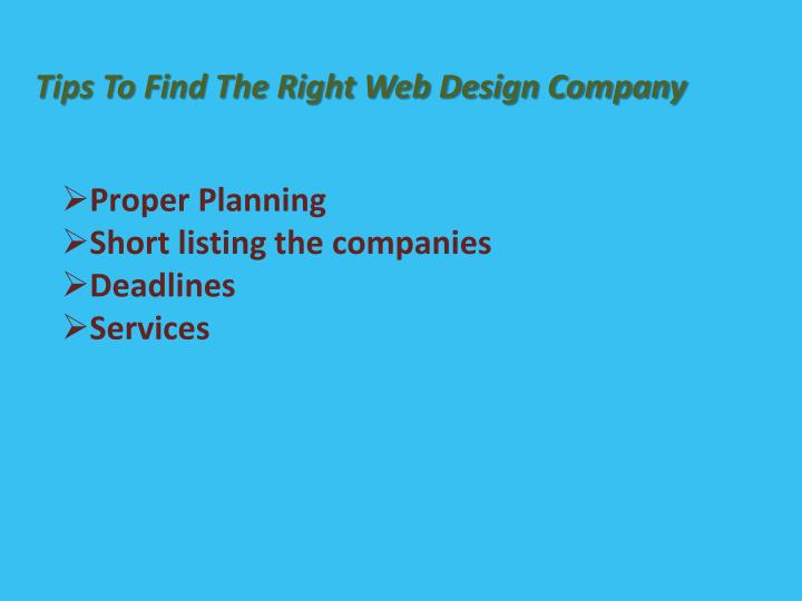 Tips To Find The Right Web Design Company