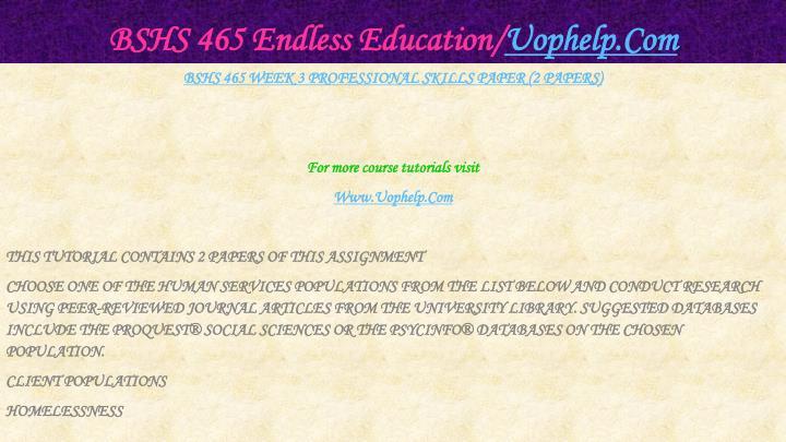 BSHS 465 Endless Education/