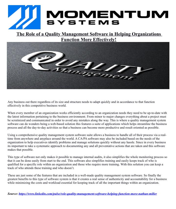 The Role of a Quality Management Software in Helping Organizations