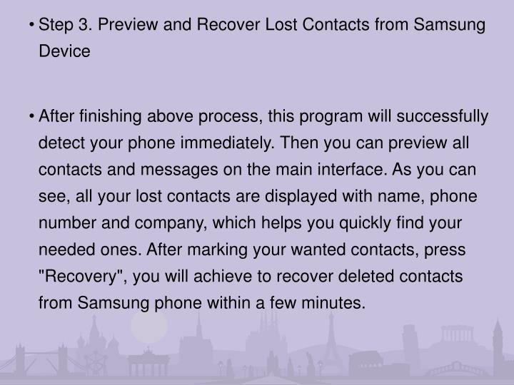 Step 3. Preview and Recover Lost Contacts from Samsung Device