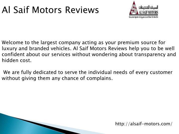 Al Saif Motors Reviews