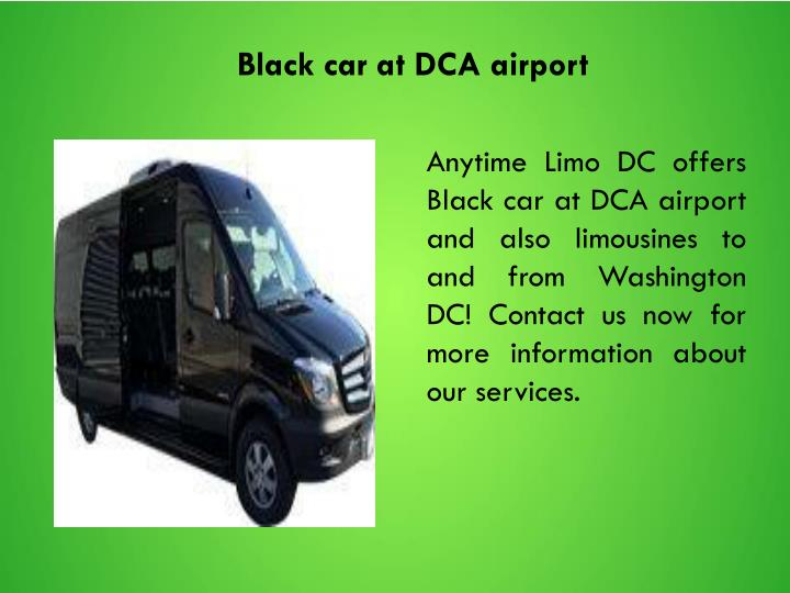 Black car at DCA airport