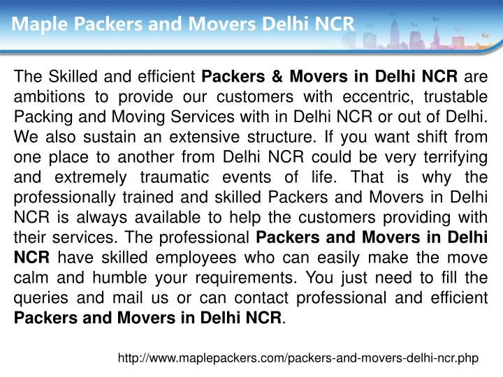 Maple packers and movers delhi ncr
