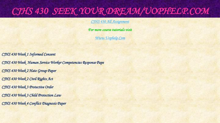 Cjhs 430 seek your dream uophelp com1
