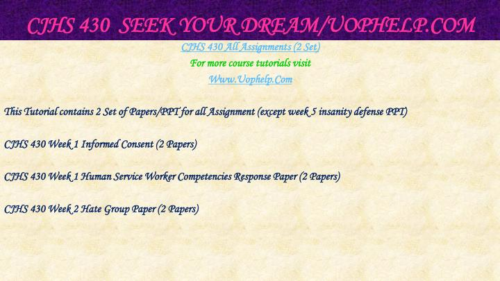 Cjhs 430 seek your dream uophelp com2