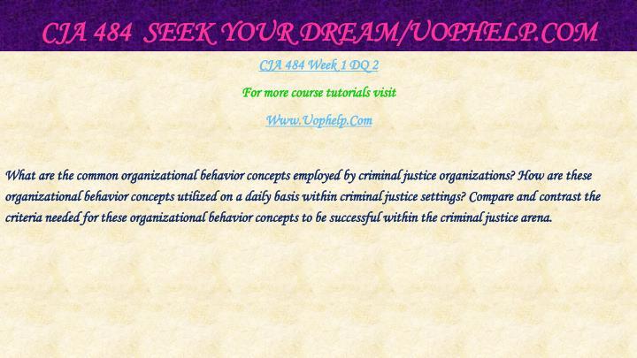 CJA 484  Seek Your Dream/