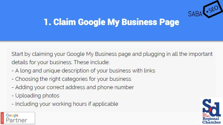 1. Claim Google My Business