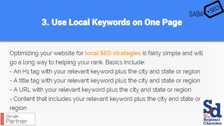 3. Use Local Keywords on One