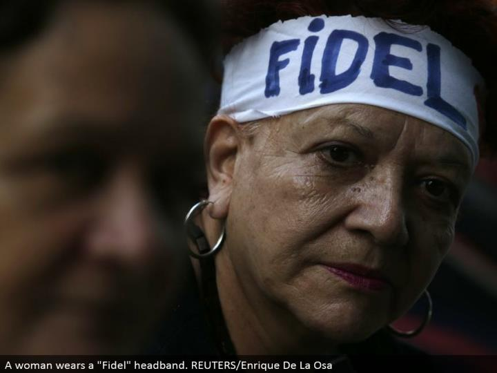 "A lady wears a ""Fidel"" headband. REUTERS/Enrique De La Osa"