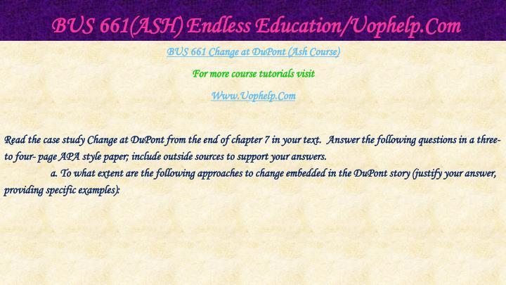 Bus 661 ash endless education uophelp com1