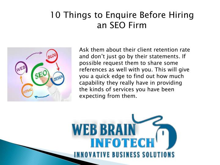 10 Things to Enquire Before Hiring an SEO Firm