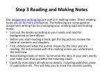 step 3 reading and making notes