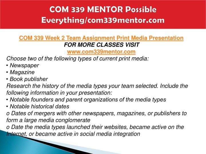 COM 339 MENTOR Possible Everything/com339mentor.com