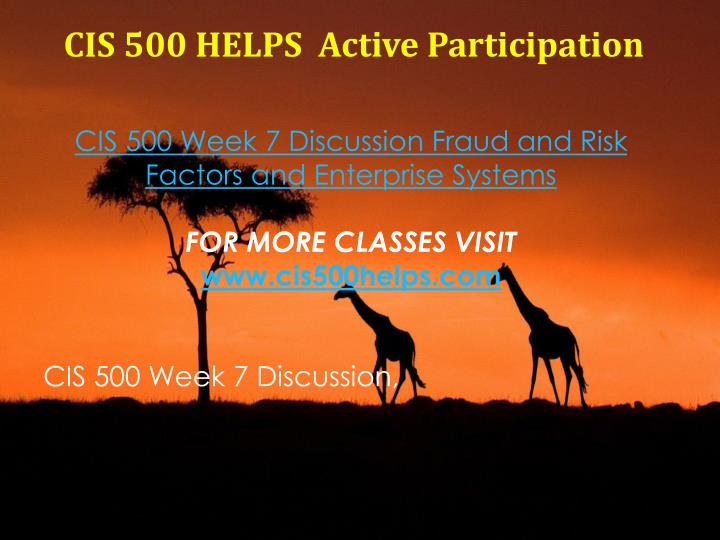 CIS 500 HELPS