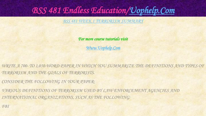 Bss 481 endless education uophelp com2