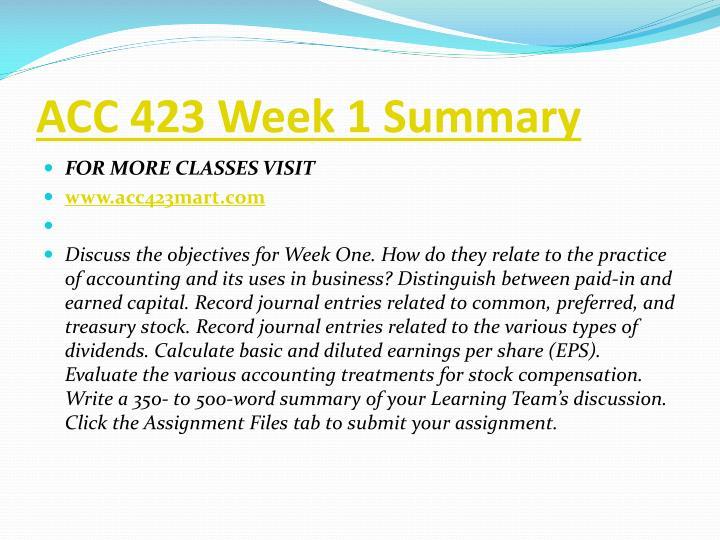ACC 423 Week 1 Summary