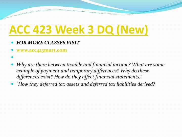ACC 423 Week 3 DQ (New)