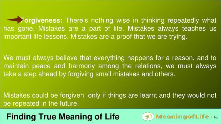 Forgiveness:
