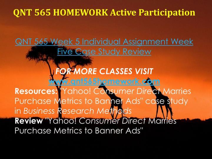 QNT 565 HOMEWORK Active Participation
