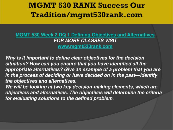 MGMT 530 RANK Success Our Tradition/mgmt530rank.com