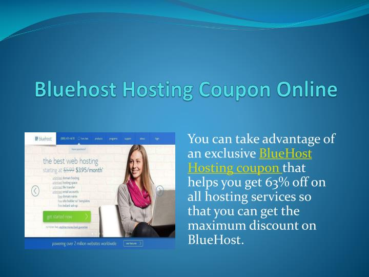 Bluehost hosting coupon online