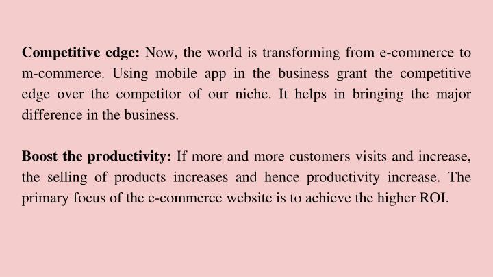 Competitive edge: